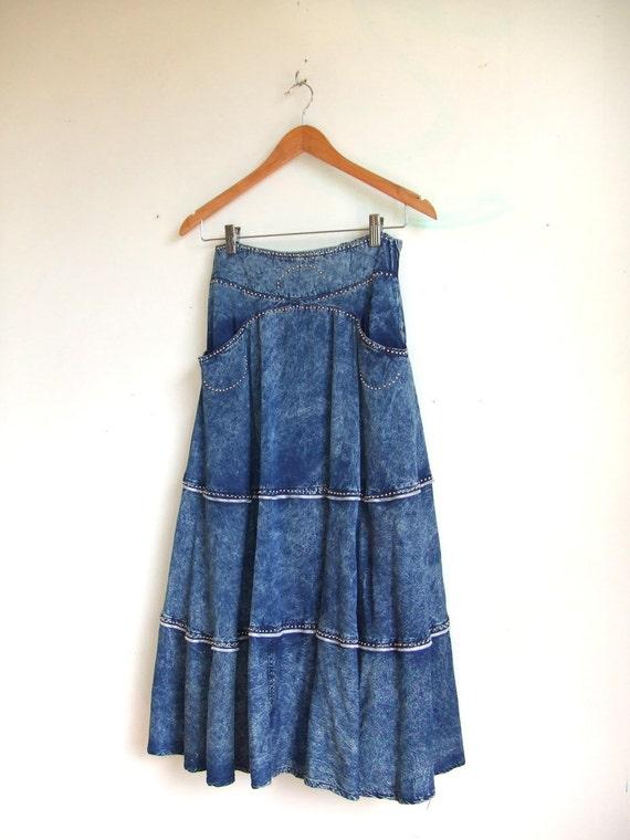 MOVING SALE////vintage 1980s amazing acid wash denim tiered maxi skirt with studding