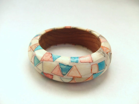 vintage resin and wood bangle