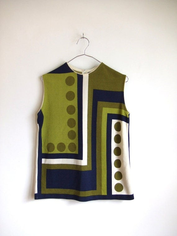 Vintage 1960's mod sleeveless blouse by designer Zio Luigo for Fairfield