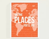 Baby Boy Nursery Wall Art Quotes - Oh The Places You'll Go Map Art Print Poster in Orange Nursery Art or Kids Room Orange Nursery Decor