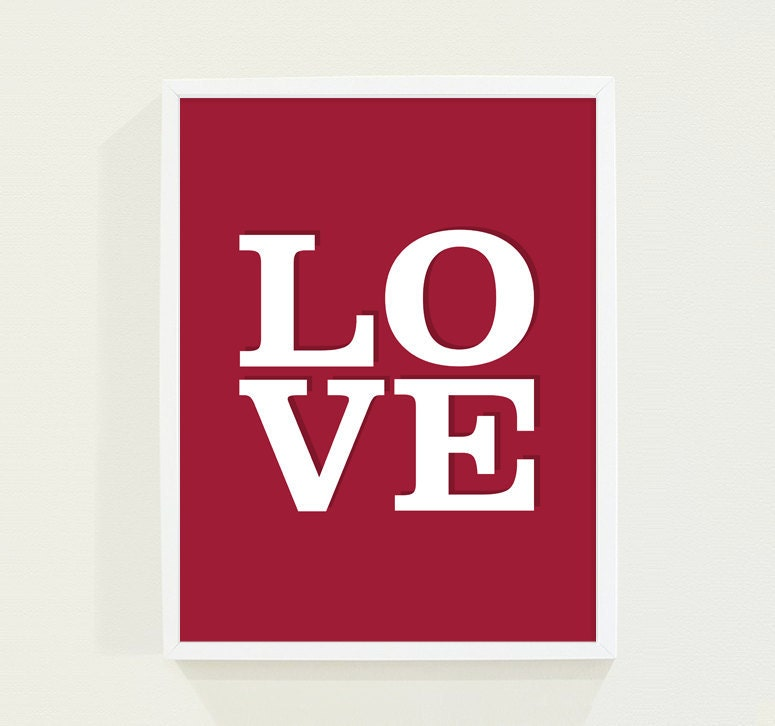 Red Love Wall Decor : Red love wall art poster typography print by fieldtrip