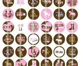 Cowgirls heart horses - 1 Inch Round - Digital Collage Sheet for making Bottle Cap Pendants, Hair bow Centers,  Cupcake toppers, and more