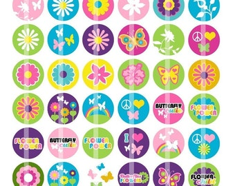 Butterfly Flowers -  1 Inch Round - Digital Collage Sheet for making Bottle Cap Pendants, Hair bow Centers,Cupcake toppers, etc.