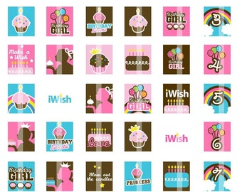 Sweet Birthday - .75x.83 Scrabble Tile SIze - Digital Collage Sheet for Pendants,  Magnets, Scrapbook embellishments, etc.