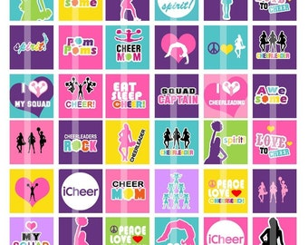 Cheerleading- 1 Inch Square - Digital Collage Sheet for making Glass or Wood Pendants, Magnets, Scrapbook embellishments, etc.