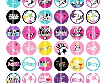 Soccer Kicks - 1 inch Round - Digital Collage Sheet for Bottle Cap Pendants, Hair bow Centers, Cupcake toppers, Magnets, etc.