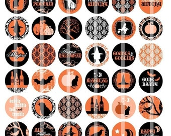 Orange and Black - Halloween Images - 1 Inch Round - Digital Collage Sheet for making Bottle Cap Pendants, Hair bow Centers, etc.
