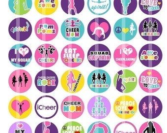 Cheerleading- 1 inch Round - Collage Sheet (B) for making Bottle Cap Pendants, hair bow centers and more
