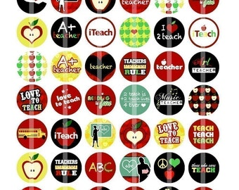 Live Learn Teach - 1 inch round - Digital Collage Sheet for  making Bottle Cap Pendants, Badges, Cupcake toppers, Magnets, etc.