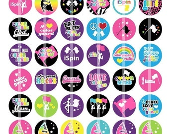 Color Guard Cutie - 1 Inch Round - Digital Collage Sheet for making Bottle Cap Pendants, Hair bow Centers, Cupcake toppers, Magnets,  etc.