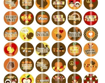 Happy Thanksgiving - 1 Inch Round - Digital Collage Sheet for making Bottle Cap Pendants, Hair bow Centers, Cupcake toppers,etc.