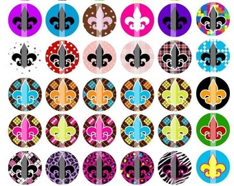 Funky Fleur De Lis- 1 inch Round - Digital Collage Sheet Bottle Cap Pendants, Hair bow Centers,  Cupcake toppers, etc.