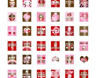 NEW - Sweets and Love Birds Scrabble Tile Size (.75x.83) Digital Images- DIGITAL Collage Sheet for Pendants,  Magnets, etc.