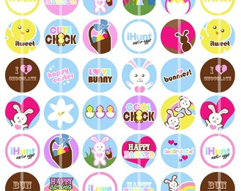 Easter / Springtime - 1 inch Round - DIGITAL Collage Sheet for Bottle Cap Pendants, Hair Bow Centers, etc.