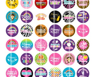 Mommy's Girl - 1 Inch Round - Digital Collage Sheet Bottle Cap Pendants, Hair bow Centers, Cupcake toppers,  Magnets, etc.