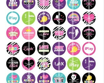Lacrosse Images - 1 Inch Round - Digital Collage Sheet Bottle Cap Pendants, Hair bow Centers, Cupcake toppers, etc.