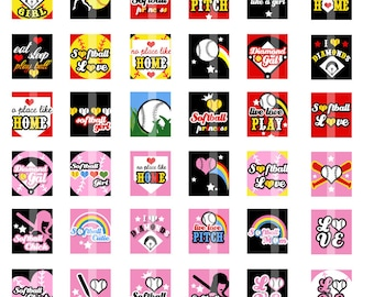 Softball Cutie - 75x.83 scrabble tile size - Digital Collage Sheet for making Pendants, Magnets, etc.