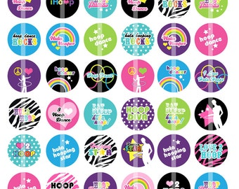 NEW Hula Hoop - 1 inch Round - Digital Collage Sheet Bottle Cap Pendants, Hair bow Centers, etc.