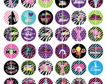 Cheering is Awesome -  Digital Images 1 inch Round - for making Bottle Cap Pendants, Hair bow Centers, Cupcake toppers, etc.