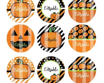 Digital Download  Editable  4x6 JPEG - Halloween Punky - 1 inch Round Digital images for bottle cap pendants, cupcake toppers, magnets, etc.