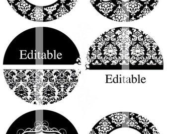 NEW - modifiable 4 x 6 JPEG - noir & blanc - 1,5 pouce rond images numériques pour les boutons, épingles, toppers cupcake, insignes, mariage faveurs, etc..