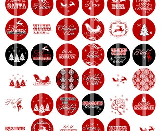 Red and White Christmas Cheer - 1 Inch Round - Digital Collage Sheet for making Bottle Cap Pendants, Hair bow Centers,Magnets, etc.