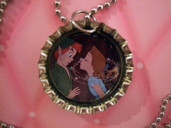 Peter Pan and Wendy (Not if Tink Can Help it) - Bottle Cap Pendant