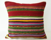 Sukan / SOFT Hand Woven - Turkish Striped Kilim Pillow Cover - 16x16