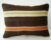 SALE - Organic Shine Society Modern Bohemian Throw Pillow. Handwoven Wool Vintage Tribal Turkish Kilim Pillow Cover.