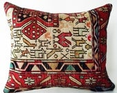 Sukan / Hand Woven - Turkish Silk Sumak Kilim Pillow Cover - 17x20