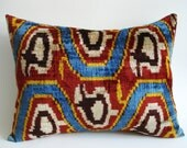 Sukan / SALE - Soft Hand Woven - Silk Velvet Ikat Pillow Cover - 15x20 - Blue Red Yellow Beige Dark Red Brown