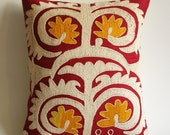 Sukan / Vintage Hand Embroidered Suzani Pillow Cover - 15x17 inch - Red Yellow White Beige