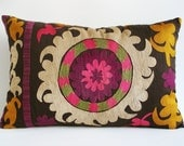 Sukan / Vintage Hand Embroidered Silk Suzani Pillow Cover - 15x24 inch - Egg Yellow Purple Pink Beige Green Dirty Black