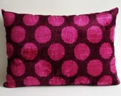 ON SALE - Handmade Silk Velvet Ikat Pillow Cover - Ikat throw pillows -  velvet pillow - velvet throw pillows -Pink, Purple, Dark Purple