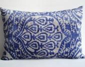 Sukan / SALE - Soft Hand Woven - Silk Velvet Ikat Pillow Cover - 16x23 inch - Blue, Beige Color