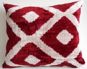 Sukan / SALE - Soft Hand Woven - Silk Velvet Ikat Pillow Cover - 16x14 inch - Beige, Dirty White, Dark Red, Burgundy, Maroon Color