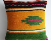 Sukan / Handwoven Wool Vintage Tribal Turkish Kilim Pillow Cover - 14x14 inch Yellow, Green, Pink, White, Red Coloe