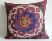 Sukan / Vintage Hand Embroidered Silk Suzani Pillow Cover - 19x20 inch Purple, Yellow, Soft Green, Egg Yellow, Beige, Black, Dirty Red Color