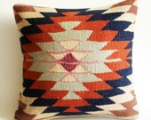 Sukan / Handwoven Vintage Turkish Kilim Pillow Cover, Decorative Pillows, Accent Pillow, Throw Pillow,  16x16 inch Navy Blue, Cream