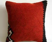 Sukan / Handwoven Vintage Turkish Kilim Pillow Cover, Decorative Pillows, Accent Pillow, Throw Pillow,  16x16 inch Orange Red, Black, White