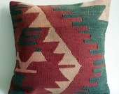 BIG SALE / Handwoven Vintage Turkish Kilim Pillow Cover, Decorative Pillows, Accent Pillow, Throw Pillow,  16x16 inch  Red, Pink, Orange
