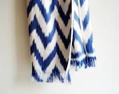 SALE - Sukan Hand Paint ikat Silk Scarf - ikat shawl - ikat scarves - tribal scarf - silk scarf - ikat scarf - scarve scarf Blue, Navy Blue