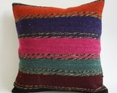 Sukan / Hand Woven Vintage Turkish Striped Kilim Pillow Cover, Decorative Pillows,16x16 inch
