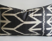 Sukan / Hand Woven Original Silk ikat Pillow Cover -  Dark Gray, Ivory Color