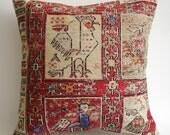 Sukan / Hand Woven Sumak Vintage Turkish Kilim Pillow Cover - 16x16 inch