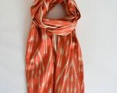 Sukan / Handwoven ikat Silk Scarf, Ikat Scarf, Ikat Scarves, Uzbek Ikat Scarf, Handwoven Scarf, Orange Beige