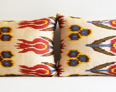 Sukan / SET (2 Piece) Hand Woven Original Silk ikat Pillow Cover - Ivory, Blue, Yellow, Red, Green, Purple