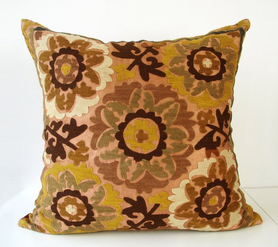 Throw Pillow Covers 25x25 : Sukan / Vintage Hand Embroidered Suzani Pillow Cover -25x25