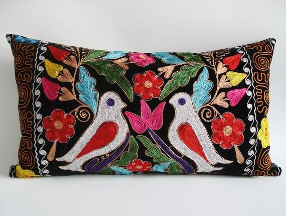Sukan Embroidered Suzani Velvet Pillow Cover 14x24 By Sukan