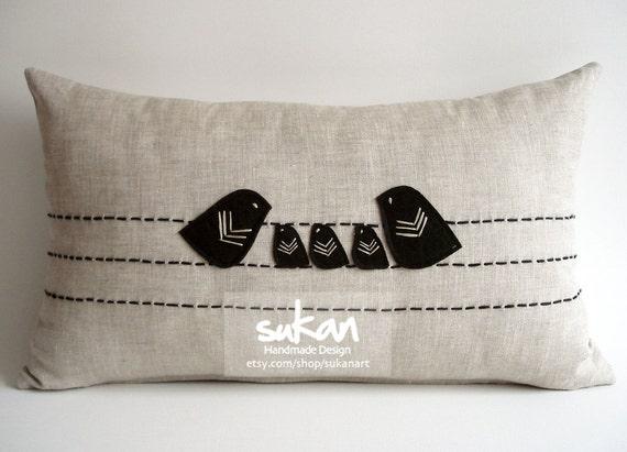 Items similar to sukan / Love Family Birds Linen Pillow Cover - Accent Pillows - Nursery Decor ...